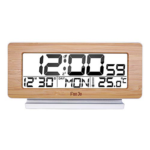 Yushufang Temperaturmesser Digitaler Wecker Thermometer Wetterstation LCD Indoor Bürotisch Snooze Elektronische Uhren,Yellow