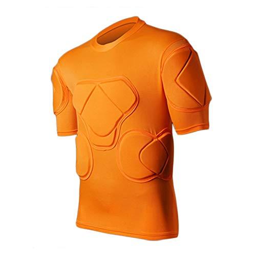 WHSPORT Herren Rugby Antikollisions Gepolstertes Kompressions T-Shirt Oberteil Für Brustkorb Schulterprotektor (Color : Orange, Size : M)