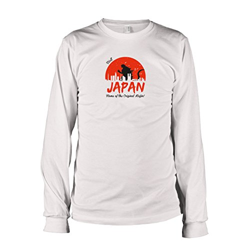 TEXLAB - Visit Japan - Langarm T-Shirt, Herren, Größe XXL, weiß (Godzilla Collection Blu-ray)