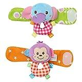 VNEIRW 1Paar Baby Handgelenk Spielzeug Plüschtiere Kleinkindspielzeug Baby Rasseln mit Schön Löwe, Panda (A)