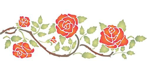 Rose Border Stencil-(taglia 37x 11,5cm) riutilizzabile stencil per pittura-migliore qualità