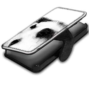 Chiens 10006, Husky, Noir Coque Housse Pochette Cover Coquille en Cuir avec Dessin Coloré et Fermeture Noir Magnetique pour Apple iPhone 4 / 4S
