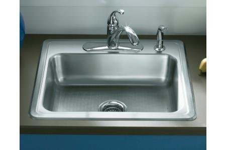 STERLING 14631-4F-NA Middleton 25-inch by 22-inch Top-mount Single Bowl Kitchen Sink, Stainless Steel