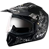 Off Road D/V Sketch Dull Black Silver Helmet-M