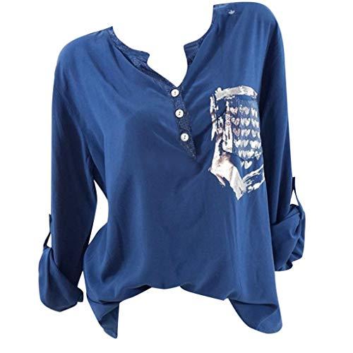 Kviklo Deman Tops Shirt Fashion Einfarbig Half-Button Drucked Pocket Langarm Bluse(L(38),Blau)