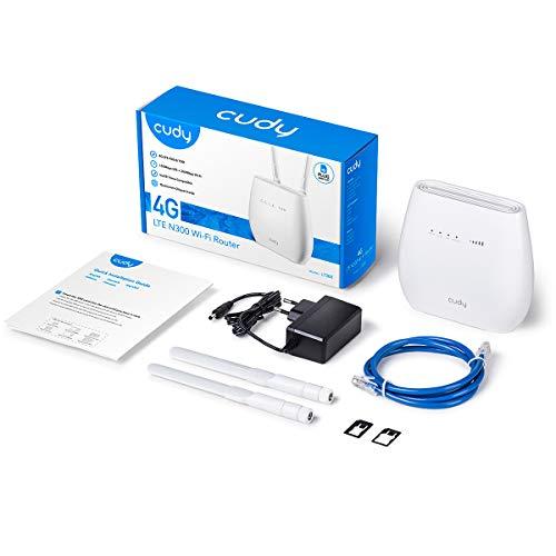 Cudy LT300 Router 4G LTE WiFi 300Mbps, Compatible con Todos los operadores, FDD y TDD, Puertos Gigabit, Antenas LTE Desmontables, Volte, Qualcomm en el Interior, sin Necesidad de configuración