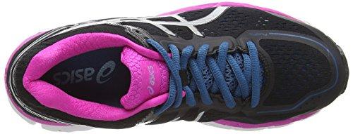 Asics Gel-kayano 22, Chaussures de Running Entrainement Femme Noir (Black/Silver/Pink Glow 9093)