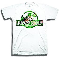 Jurassic World LogoCamiseta Blanca Para Hombre | 2XL