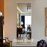 Creative Arts n Frames Frame Less Thick Mirror Beveled Edges with Multi Purpose Glass Shelf (1, 18x48)