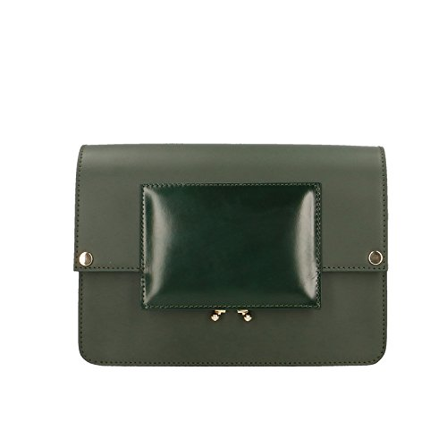 Chicca Borse Pochette Elegante Borsetta a Spalla da Donna in Vera Pelle Made in Italy 100% Genuine Leather 26x18x9 Cm Verde