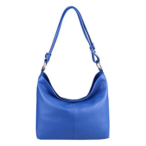 OBC Only-Beautiful-Couture OBC Italy Echt Leder Damen Tasche Shopper Hobo-Bags Schultertasche Umhängetasche Handtasche Henkeltasche Ledertasche Damentasche (Königsblau) - Wildleder Hobo Handtasche