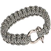 SODIAL (R)Bracelet de Survie avec U Boucle corde de Parachute Paracord exterieure Urgence evasion rapidement Camo Gris