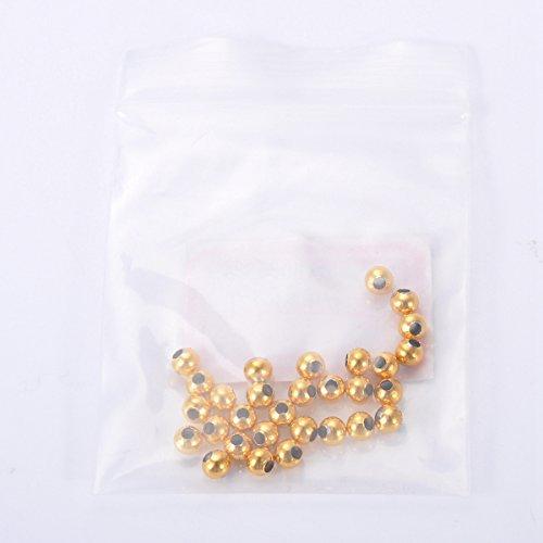 HOUSWEETY 30 Pcs Perles d'Espacement Rond en Acier Inoxydable avec Trou pour Creation de Bijoux 4mm