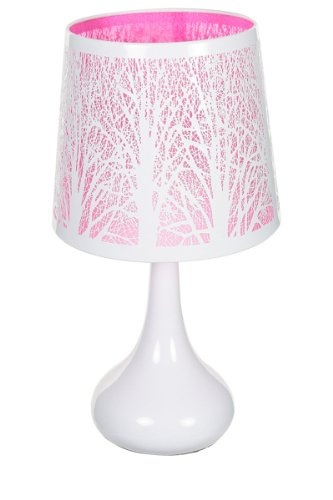 Lampe Touch Metall weiß, Baum-Motiv, Rosa