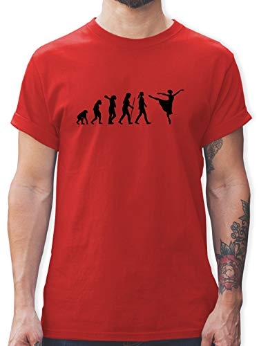 Evolution - Ballett Evolution Arabesque - M - Rot - L190 - Tshirt Herren und Männer T-Shirts