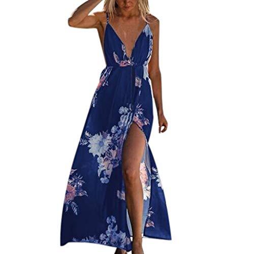 Summer Women Fashion Sling High Split Beach Abito Lungo Stampato Sexy Scollo a V Profondo - SamMoSon Principessa Rosso Nero Primavera Matrimonio Wonder Cenerentola Giallo Bambina Costume (Blu S)
