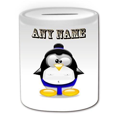 Personalisiertes Geschenk-Sumo schwarz Gürtel Spardose (Design Pinguin