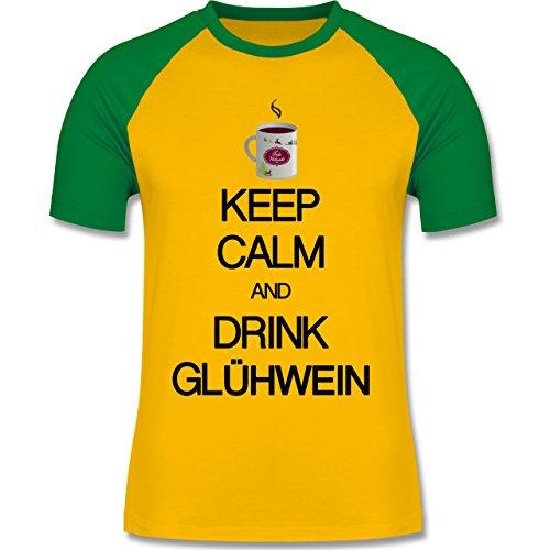 Keep calm - Keep calm and drink Glühwein - zweifarbiges Baseballshirt für Männer Gelb/Grün