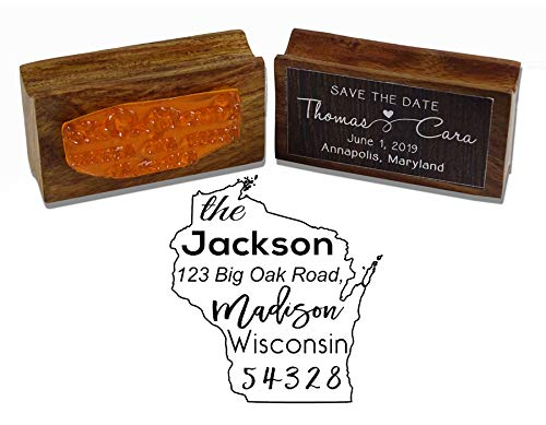 Printtoo Runde Rücks Stempel Holz Mounted Wisconsin State Map Personalisierte Stamper -