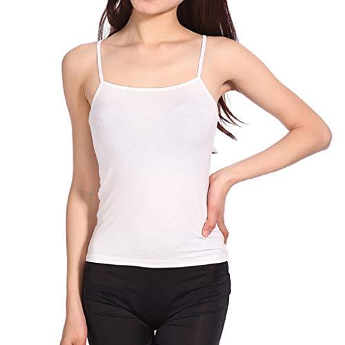 feiXIANG Damen Weste Strap Shirts Dünne Chiffon Oberteile Lose Casual Sommer Blusen Einfarbig Mini Vest(Weiß,Freie Größe)