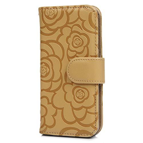 Hülle für Samsung Galaxy S10+ Plus Hülle Case Blume Muster PU Leder Wallet Tasche Handyhülle Soft TPU Schutzhülle Schale Bookstyle Ständer Kartenfach Magnetverschluss Brieftasche Lokales Gold (S10-hülsen)
