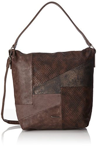 Tamaris Damen Bimba Hobo Bag Schultertasche, Braun (Dark Brown Comb), 14x40x30 cm (Bag Braun Patchwork Leder)
