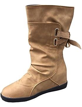 Stivali Donna , feiXIANG® Donne donna basso zeppa fibbia biker caviglia Trim Flat stivaletti scarpe - pelle artificiale...