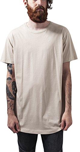 Urban Classics Herren T-Shirt Shaped Long Tee, Elfenbein (Sand 208), X-Large (Shirt Elfenbein Herren)