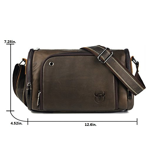 ELASZ Bullcaptain Vintage Shoulder Bag for Men Real Leather Casual Briefcase Messenger Bag (Brown-036) Giallo-B01