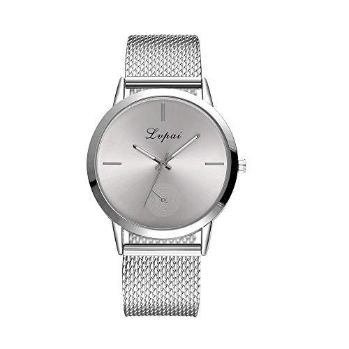 BaZhaHei Damen Uhren Lvpai Frauen Klassische Luxusuhr mit Kristall Quarz Silikon Band Band Uhr Analog Armbanduhr (Silber)