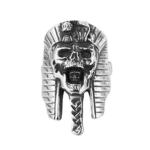 Daesar Edelstahl Herren Ring Partner Ägyptischer Schädel Totenkopf Freundschaftsring Edelstahlringe Silber Gr.67 (21.3) (Platin-chip)