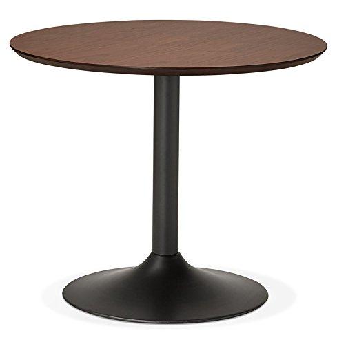 Alterego Petite Table de Bureau/à Diner Ronde 'Chef' en Bois Finition Noyer - Ø 90 cm