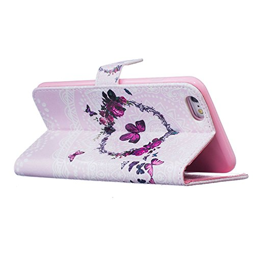 iPhone 6s Plus Hülle Leder, E-Lush Premium PU Leder Tasche für Apple iPhone 6/6S Plus(5,5 zoll) Klapphülle 360 Full Body Protection Flip Case Wallet Cover Weiche Flexible TPU Soft Rückseite Abdeckung  Rosa Schmetterling