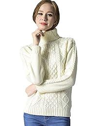Lukis Damen Klassisch Rollkragen Pullover Strickpullover Zopfstrick