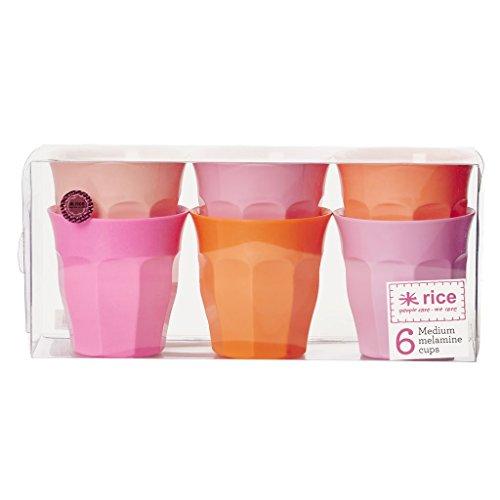 "Preisvergleich Produktbild RICE Becher aus Melamin medium ""Pink and Orange Colours"" - 6er-Pack (ca. 250ml)"