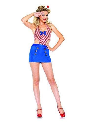 Leg Avenue Kostüm Shore Leave Sailor für Damen Blau/Rot Größe (Kostüm Avenue Seemann Leg)