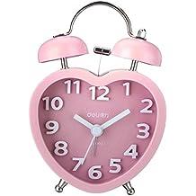 AUDEW Quarzo Analogico Bimetallico Piccola Lampada di Notte Sveglia a Forma di Cuore Rosa - Quarzo Rosa Cuore