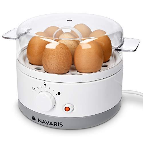 Navaris Eierkocher für 1-7 Eier - inkl. Wasser-Messbecher mit Eierstecher - Härtegrad einstellbar - 350W - 22x17,5x14,5cm - Eierkochautomat Weiß