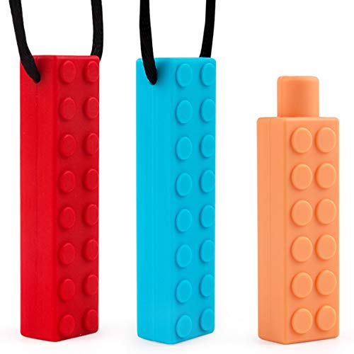 Collar Mordedor Silicona Niños Autismo Masticar Chewlery Sensorial Chew Necklace Set, Dentición de Silicona Chewer Motor Oral para Masticar Juguete para ADHD, SPD, ASD/SD, Autismo, Morder(3 pack)