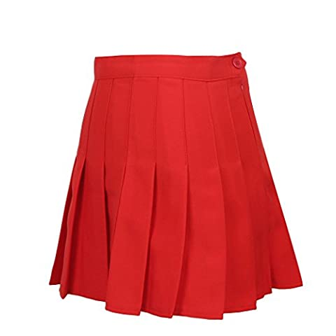 JNTworld 2015 Femmes Slim taille haute couleur unie plissé de tennis Jupes , L , rouge