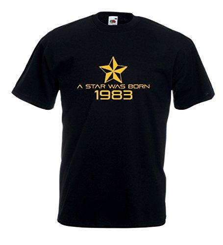 Settantallora - T-shirt Maglietta J168 A Star Was Born in 1983 Nero