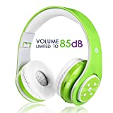 Kids Wireless Bluetooth Headphone with Microphone volume limited foldable Earphone Children Stereo On Ear headset for PC / TV / Tablets / Smartphones Green