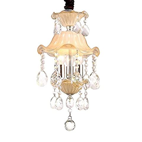XIAOJIA European Crystal Chandelier, Decorative Hall Lights, Balcony Corridor Over Stairs 3 Lights Chandeliers