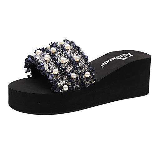 Damen Sommerschuhe Keilabsatz Walking Sneakers Yogogo Strand Bohemien Flip Flops Lässig Sommer Sandalen Schuhe Elegant Absatz Open Toe Shoes Anti Rutsch Hausschuhe Party Sport -