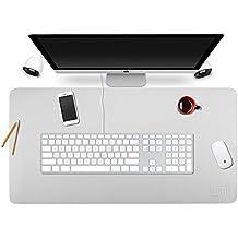 Alfombrilla de escritorio (90* 45cm BUBM organizador de escritorio de piel sintética Pad Vades con cómodo superficie de escritura, color gris claro 90x45cm