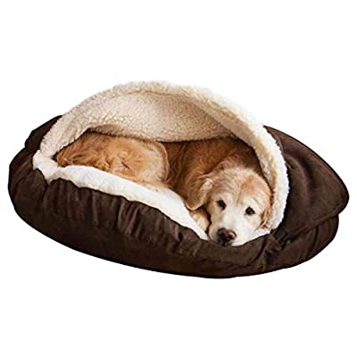 GWM Pet Bed, Soft and Warm Pet Cave, Cat and Dog Universal, Large, Medium, Grey by GWM