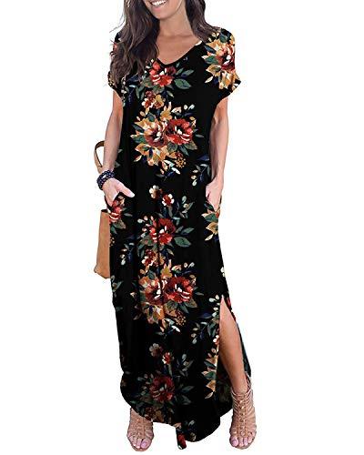 Kidsform Femme Robe Longue d'été Boheme Manches Courtes Grande Taille Chic Maxi Robe de Plage Col Rond Fleurie Casual Rode de Soirée avec Poches X-Fleurie Pivoine 46 EU (Fabricant: Taille 2XL)