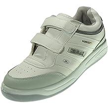 DEMAX P802 Zapatilla Deportiva Hombre Sneaker Velcro Piel Ancho Piso Llano Grueso Ligero