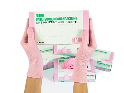 Nitrilhandschuhe 100 Stück Box (M, Rosa / Pink) Einweghandschuhe, Einmalhandschuhe, Untersuchungshandschuhe, Nitril Handschuhe, puderfrei, ohne Latex, unsteril, latexfrei, disposible gloves, pink, Med