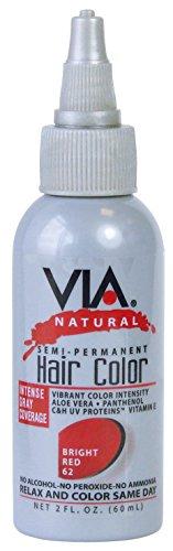 Via Natural Teintures capillaires semi-permanentes - Couleur 60 (Coucher de soleil rougeoyant) - 60 ml